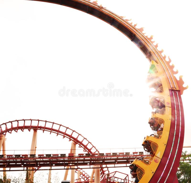 Roller coaster at sunset royalty free stock photography
