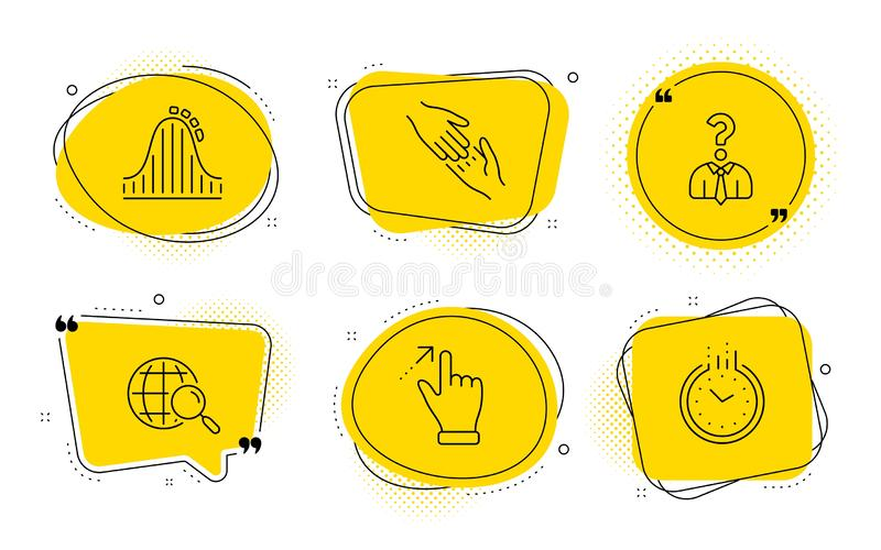 Touchscreen gesture, Helping hand and Hiring employees icons set. Roller coaster, Web search and Time signs. Vector. Roller coaster, Web search and Time signs royalty free illustration
