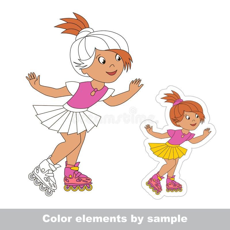 Roller girl skating on roller skates. One baby girl skating on roller skates. Page to color elements, fragment, excerpt. Summer outdoor games for children. Kid royalty free illustration
