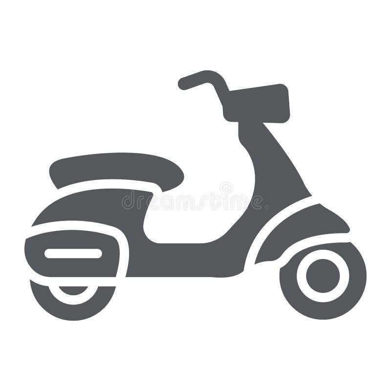 Roller Glyphikone, Transport und Antrieb, Motorradzeichen, Vektorgrafik, ein festes Muster auf einem weißen Hintergrund lizenzfreie abbildung
