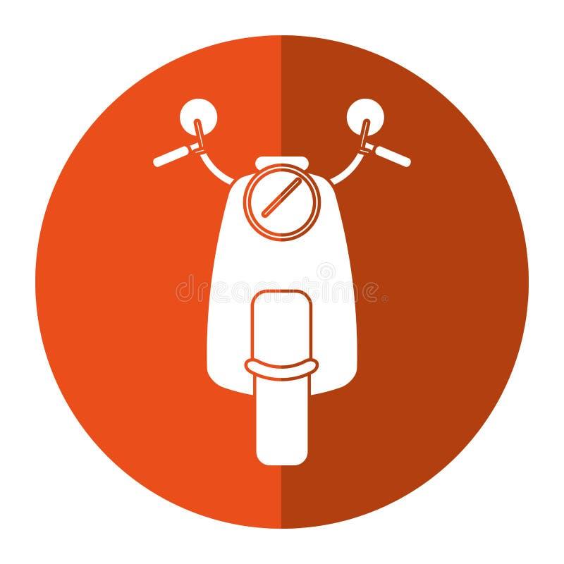 Roller motrocycle klassischer Transport-Orangenkreis stock abbildung