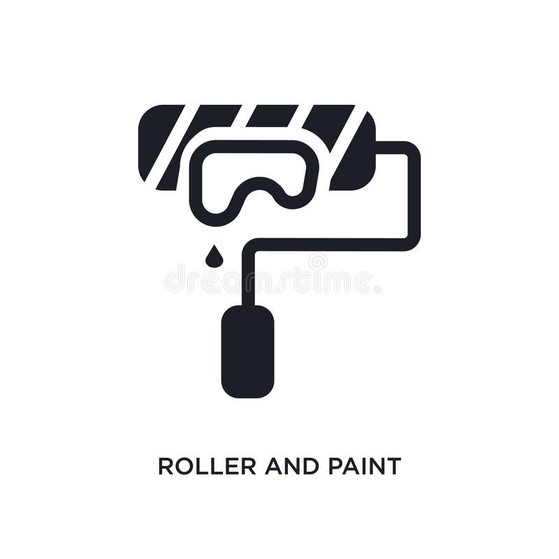 roller and paint isolated icon. simple element illustration from construction concept icons. roller and paint editable logo sign vector illustration