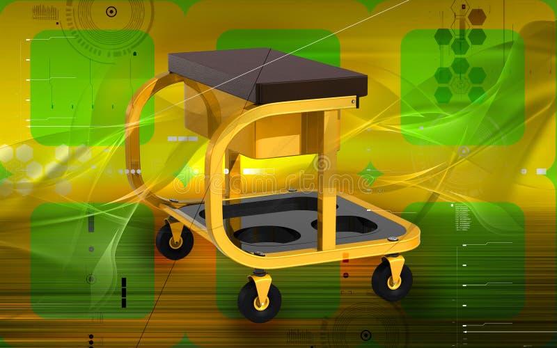 Roller seat with drawer. Digital illustration of Roller seat with drawer in colour background stock illustration