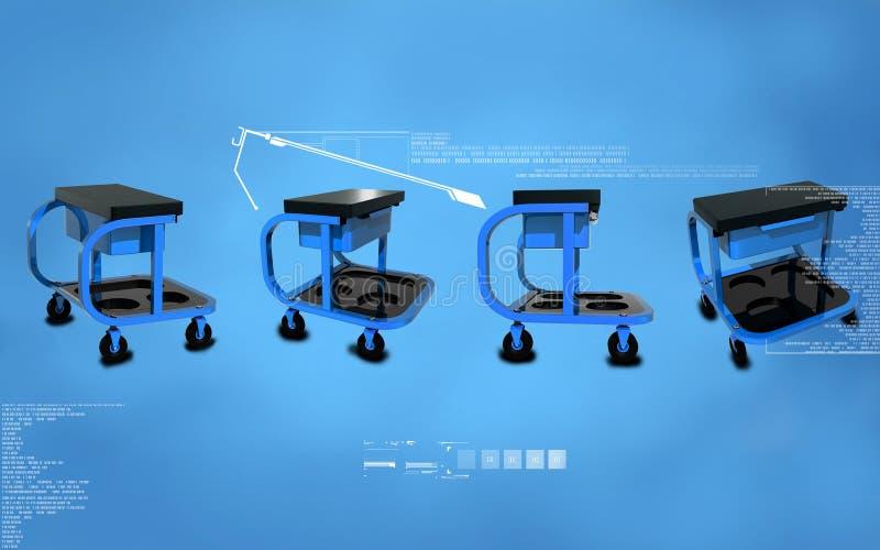 Roller seat with drawer. Digital illustration of Roller seat with drawer in colour background royalty free illustration