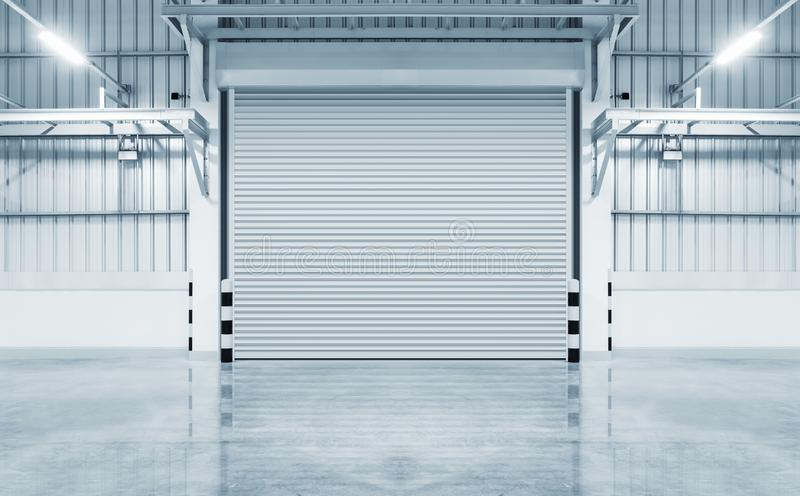 Shutter door factory. Roller shutter door and concrete floor outside factory building for industry background royalty free stock photo