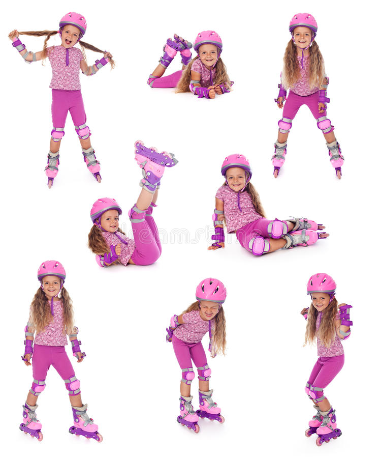 Free Roller Skater Girl In Different Positions Royalty Free Stock Images - 20187199