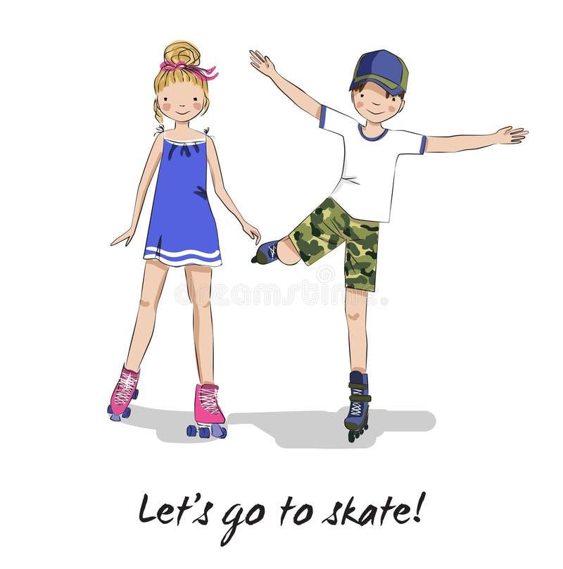 Roller skater. Skating girl, boy. Cartoon couple. Roller skaters. Skating girl and boy. Cartoon young couple. Teen friends. Lets go to skate vector illustration