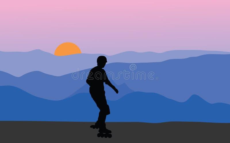 Download Roller Skater At Sunset Stock Image - Image: 3162121