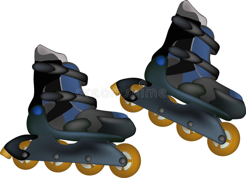 Roller skates. The black sports roller skates royalty free illustration