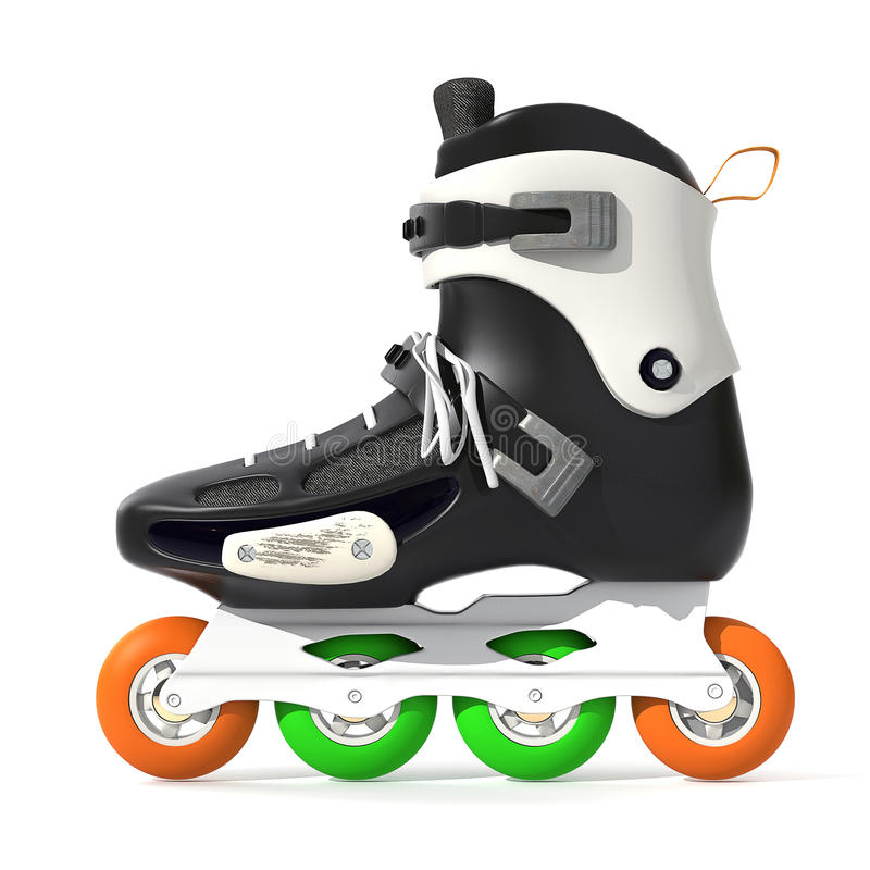 Roller Skates. Black with white accents on a white background royalty free illustration