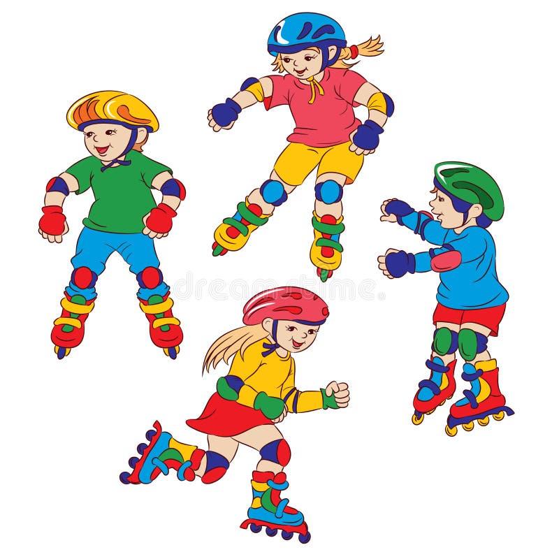 Roller skates. Children go for a drive on roller skates vector illustration