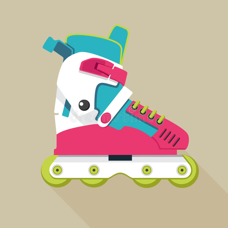 Roller skates icon. With long shadow vector illustration