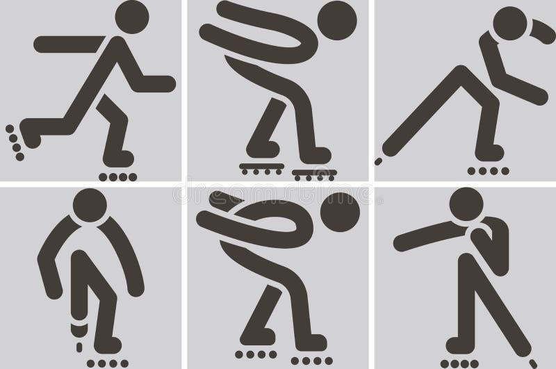 Roller skates icons. Summer sports icons set - roller skates icons vector illustration