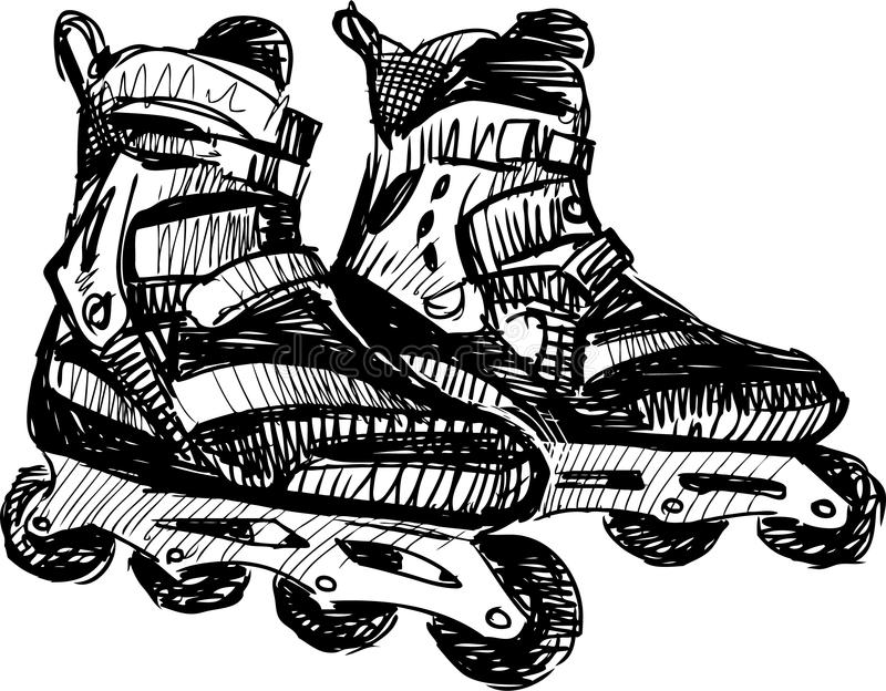 Roller skates. Vector drawing of the pair of a roller skates vector illustration