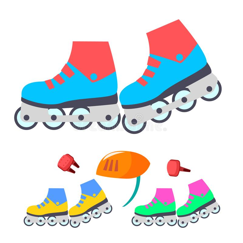 Roller Skates Vector. Modern Children Outdoor Activity. Isolated Flat Cartoon Illustration royalty free illustration
