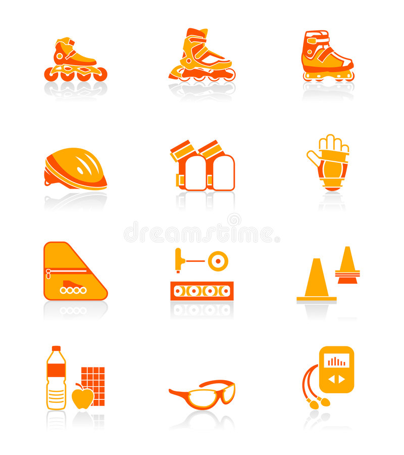 Roller skating icons   JUICY series stock illustration