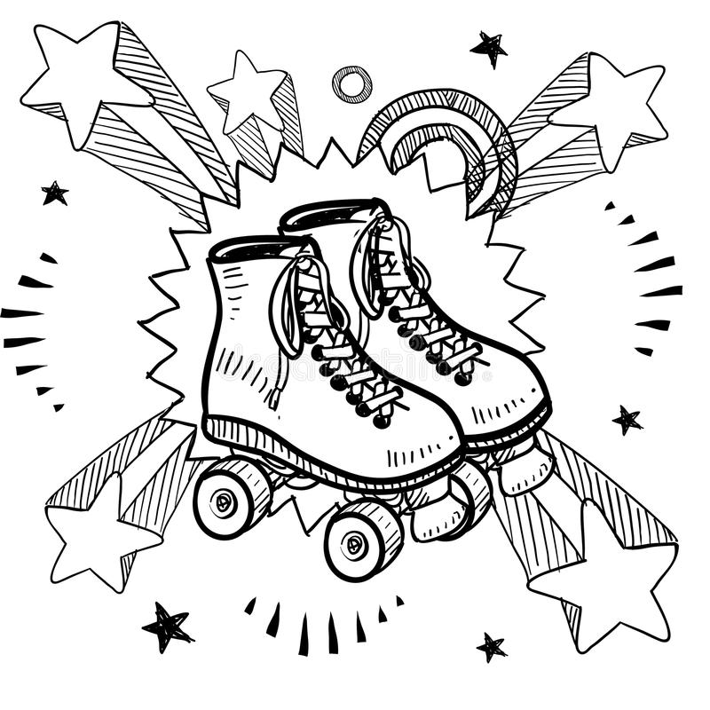 Roller skating sketch. Doodle style sketch of rollerskates on pop explosion background in 1960s or 1970s style in vector illustration royalty free illustration