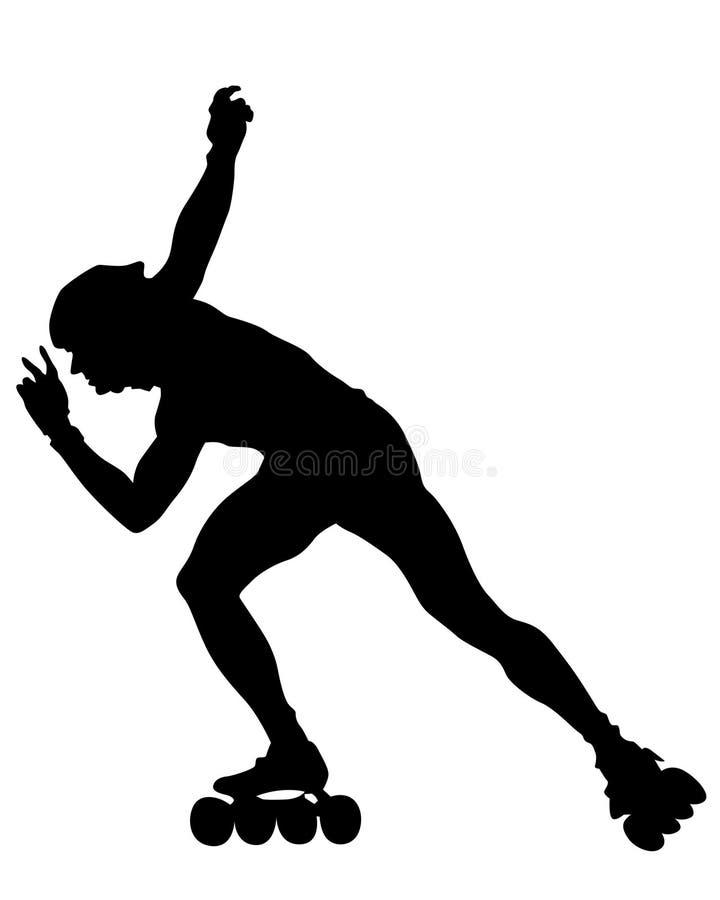 Roller sport one. Silhouette athletes of skates on white background vector illustration
