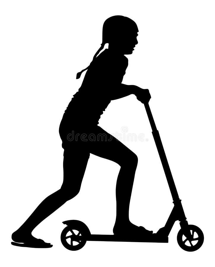 Roller-Vektorschattenbild des kleinen Mädchens Reit Rochen oder Brett mit Radspielzeug Lieblingsgeburtstagsgeschenk für gutes Kin stock abbildung