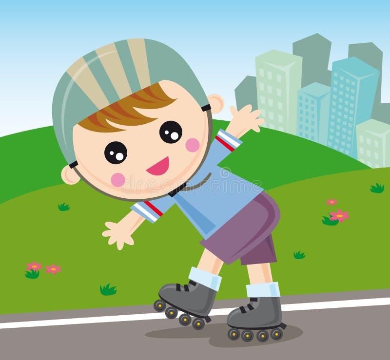 rollerblade мальчика иллюстрация вектора