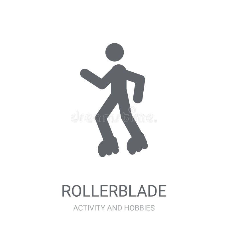 Rollerbladeikone Modisches Rollerbladelogokonzept auf weißem backg stock abbildung
