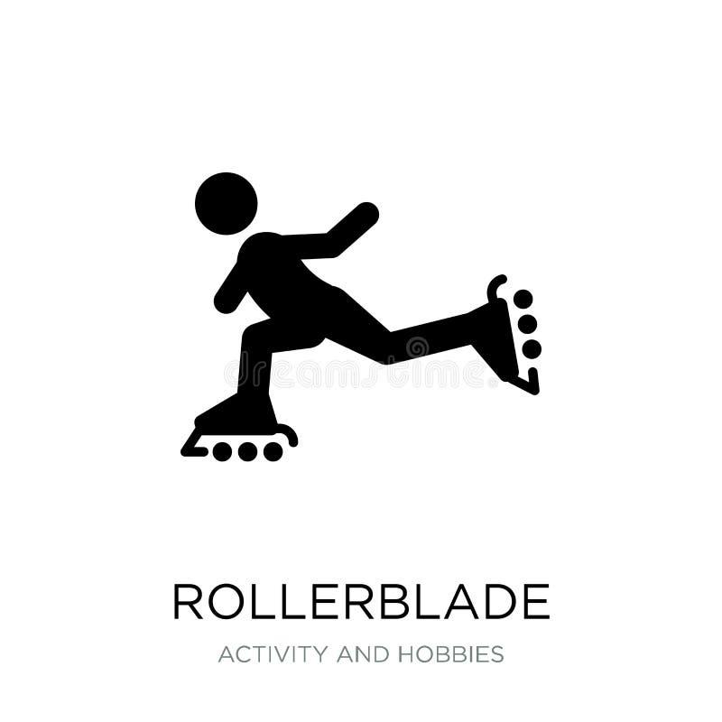 rollerbladesymbol i moderiktig designstil rollerbladesymbol som isoleras på vit bakgrund modern rollerbladevektorsymbol som är en stock illustrationer