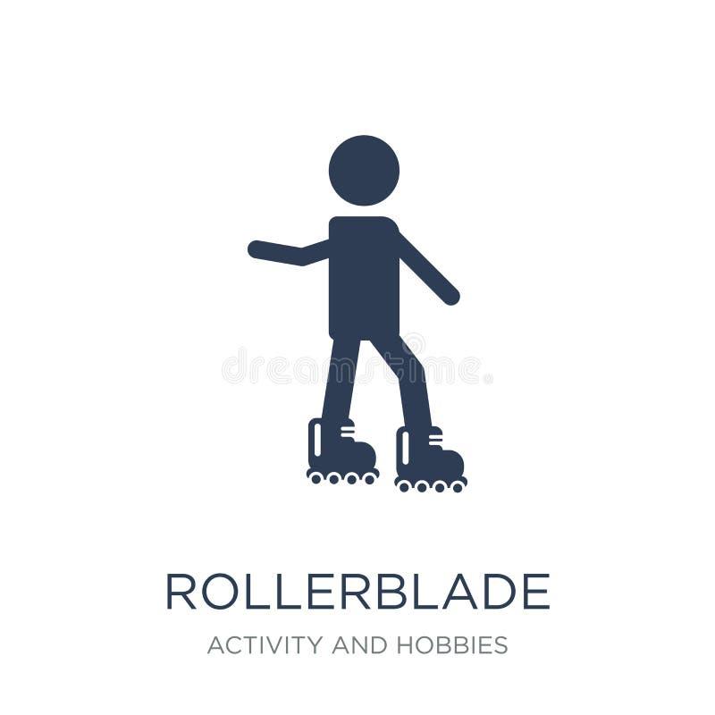 Rollerbladesymbol Moderiktig plan vektorRollerbladesymbol på vitt b stock illustrationer