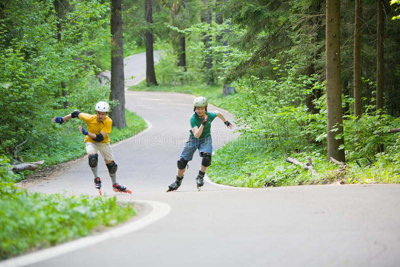 rollerblading 免版税库存照片