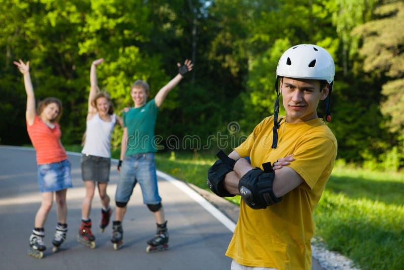 rollerblading 免版税库存图片