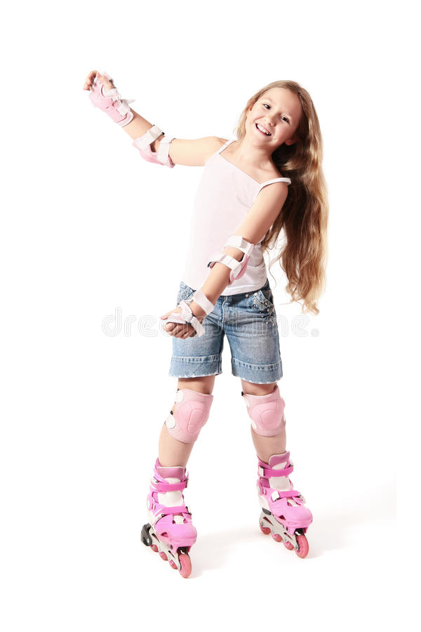 Rollerblading. Child sport with rollerblades stock images