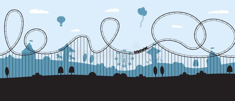 Rollercoaster banner - flat cartoon amusement park skyline silhouette vector illustration