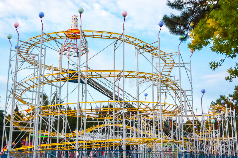 Download Rollercoaster In The Evening Against Blue Sky. Stock Image - Image: 47595513