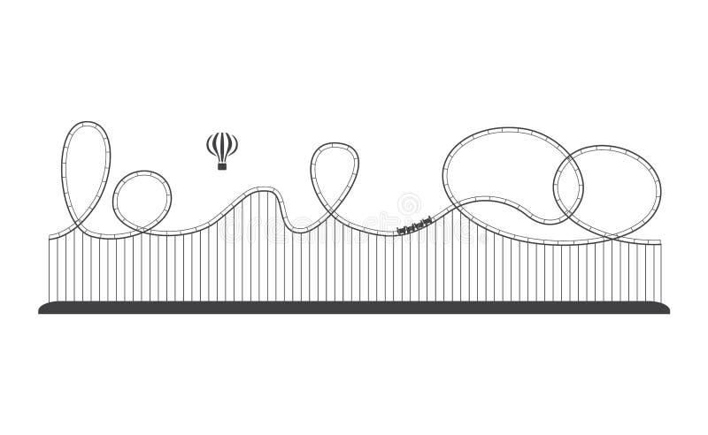 Rollercoaster icon in an amusement park, fun leisure. vector illustration