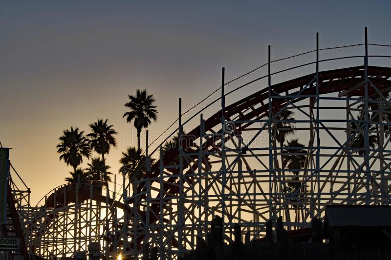 Rollercoaster Sunset at Santa Cruz - California royalty free stock photos