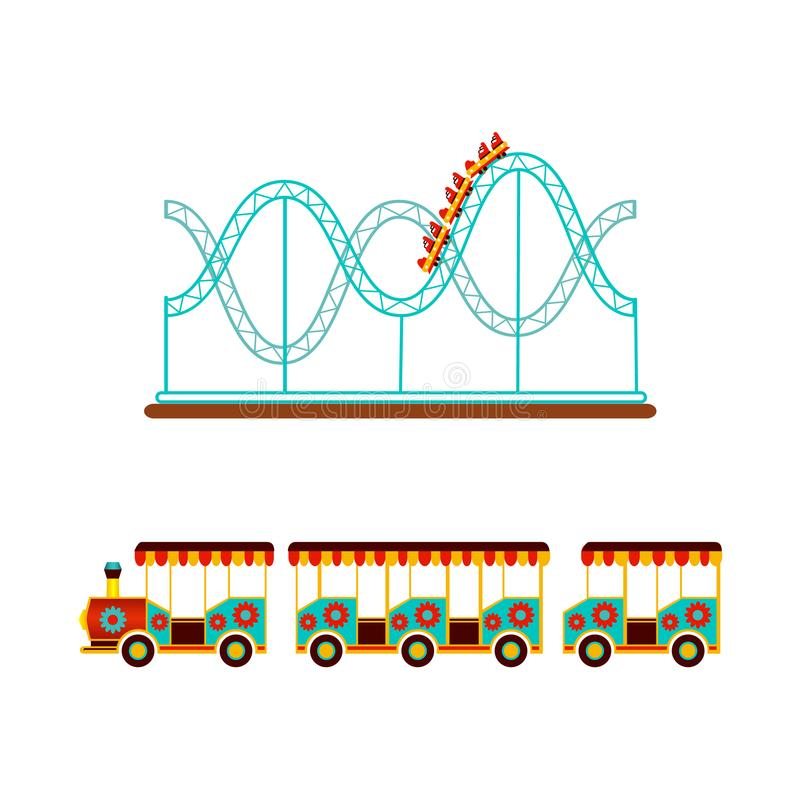 Rollercoaster and train ride in amusement park vector illustration