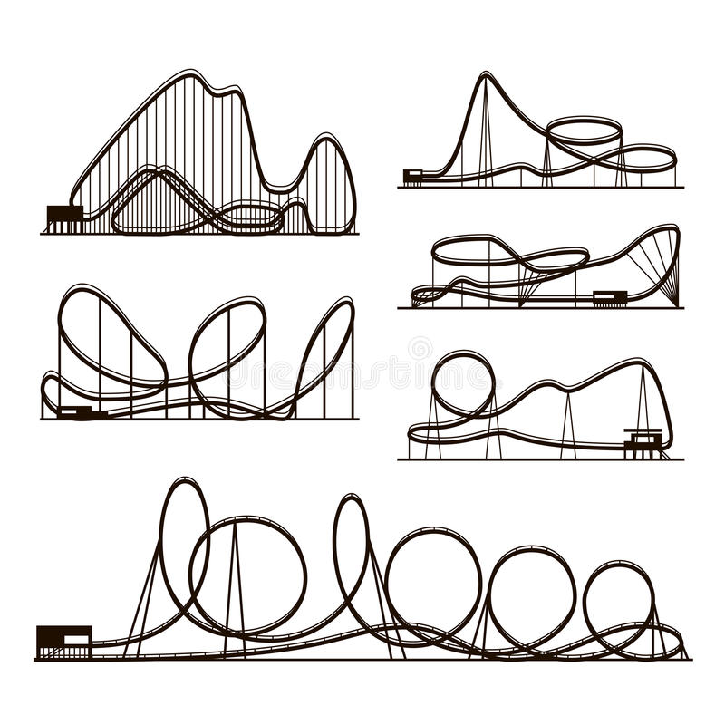 Rollercoaster vector vector black silhouettes isolated on white. Amusement park icons vector illustration