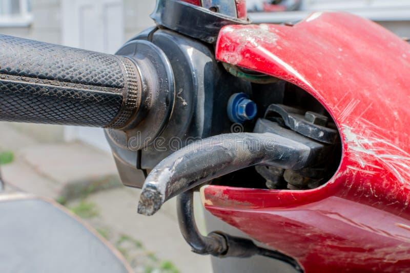 Rollergriff Abschluss herauf Motorradbremse und Kupplungsteil stockbilder