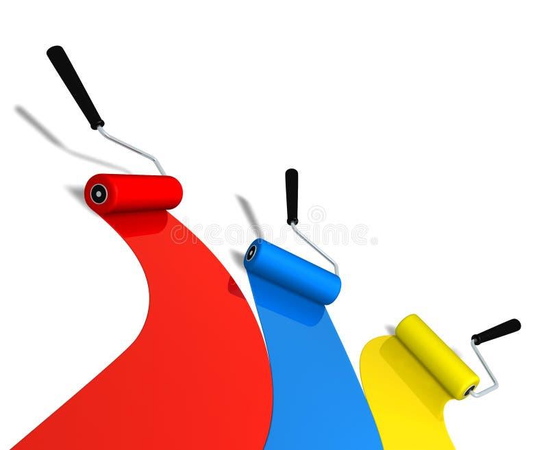 Rollers. Roller brushes in three color (3D rendered illustration stock illustration