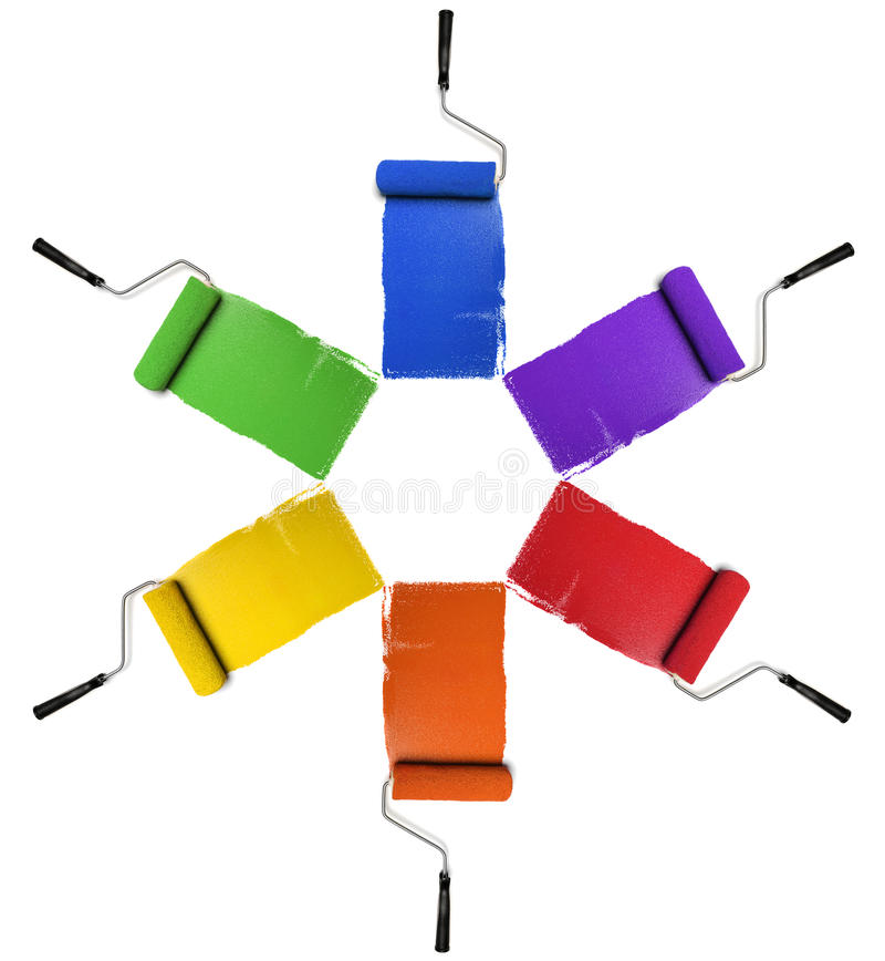 Rollers with Primary and Secondary Colors stock image