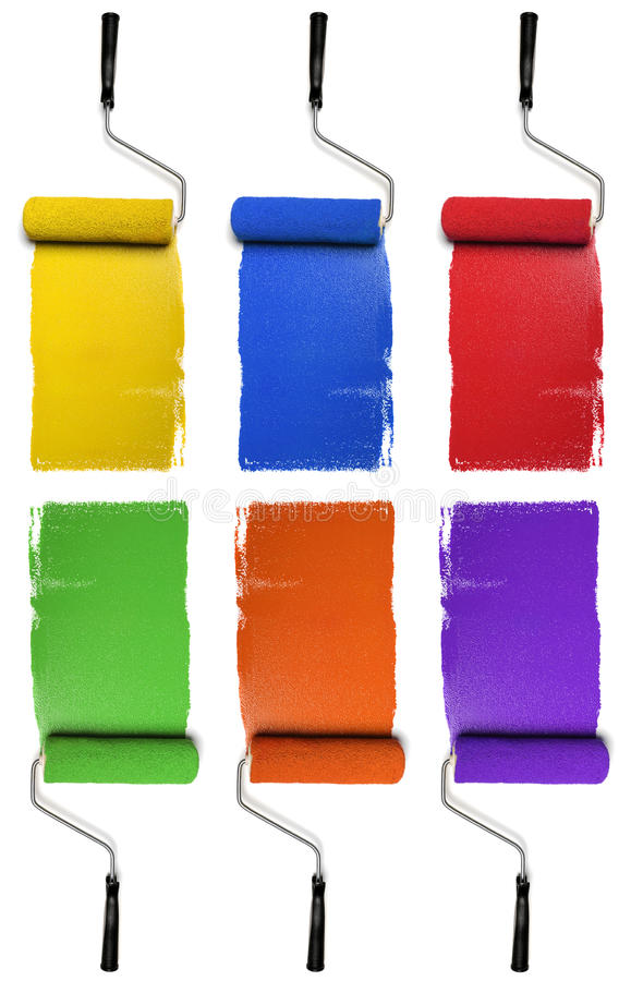 Download Rollers With Primary And Secondary Colors Stock Image