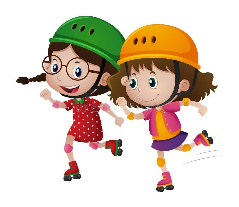 Rollerskate de duas meninas junto ilustração stock