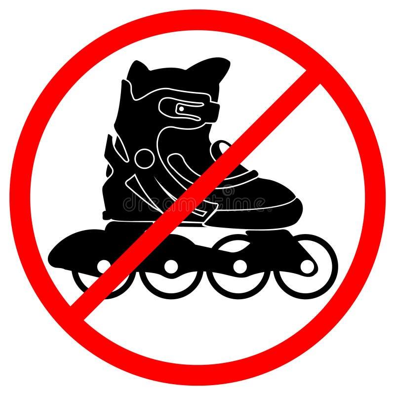 Rollerskate verbotenes Zeichen stock abbildung
