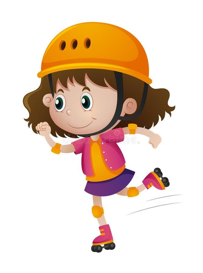 Rollerskating da menina com capacete sobre ilustração stock