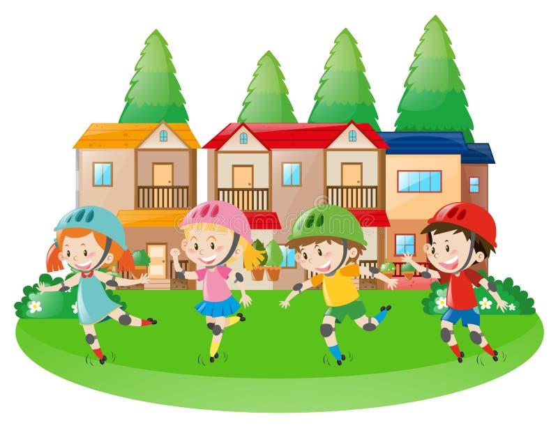 Rollerskating de quatro crianças na vizinhança ilustração do vetor