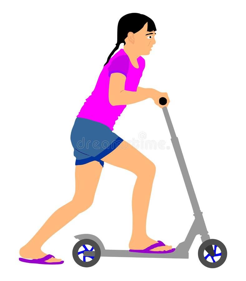 Rollervektor des kleinen Mädchens Reit Rochen oder Brett mit Radspielzeug Lieblingsgeburtstagsgeschenk für gutes Kind lizenzfreie abbildung