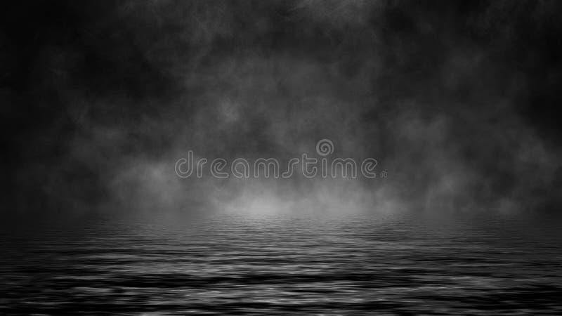 Rolling billows van de wolken van de rookmist van droog ijs over de bodem steken met bezinning in water aan Het element van het o stock afbeelding