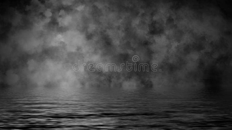 Rolling billows van de wolken van de rookmist van droog ijs over de bodem steken met bezinning in water aan Het element van het o stock foto
