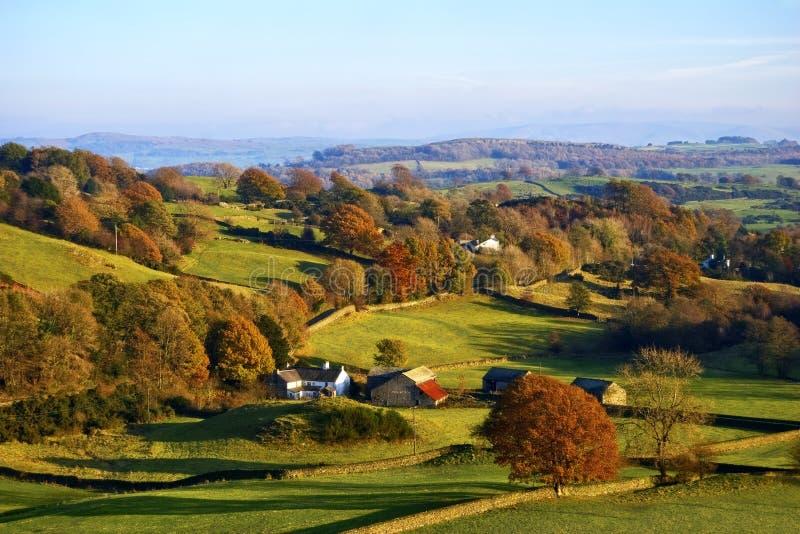 Rolling Engels platteland in de Herfst stock afbeeldingen