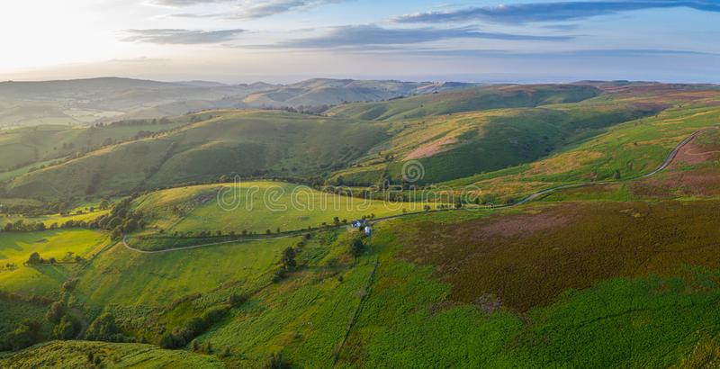 Panoramic Aerial View over Farming Fields at Sunset stock images
