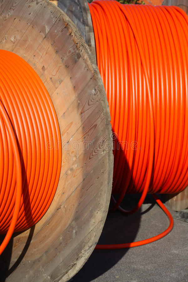 Rolling fast internet out. Broadband access through fiber. royalty free stock image